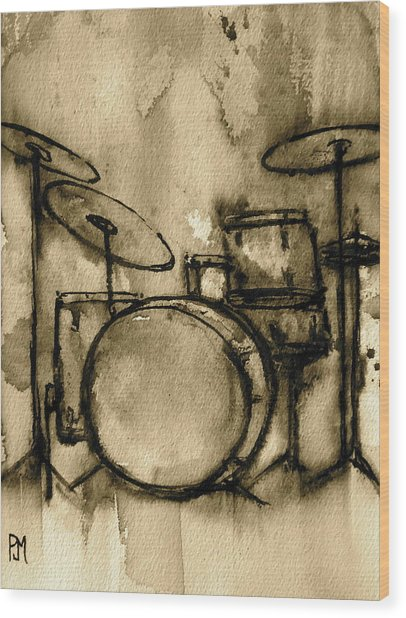 Vintage Drums Wood Print