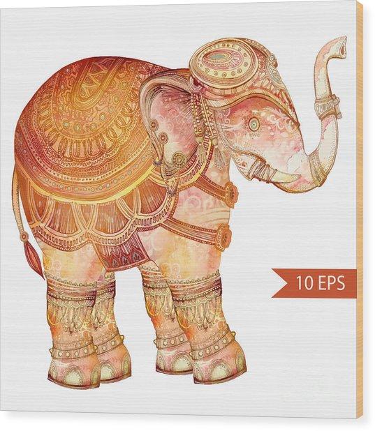 Vintage Elephant Illustration. Hand Wood Print by Polina Lina