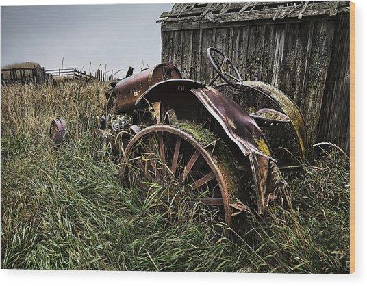 Vintage Farm Tractor Color Wood Print
