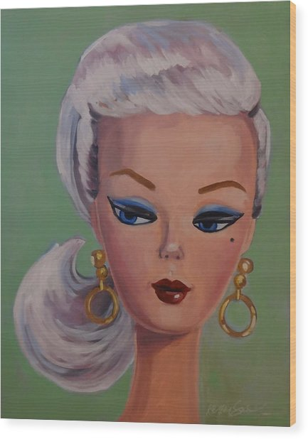 Vintage Fashion Doll Series  Wood Print by Kelley Smith
