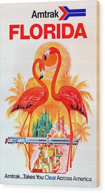 Vintage Florida Amtrak Travel Poster Wood Print