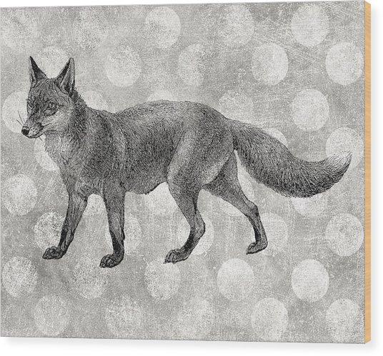 Gray Fox Wood Print by Flo Karp