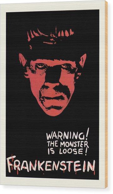 Vintage Frankenstein Movie Art Wood Print