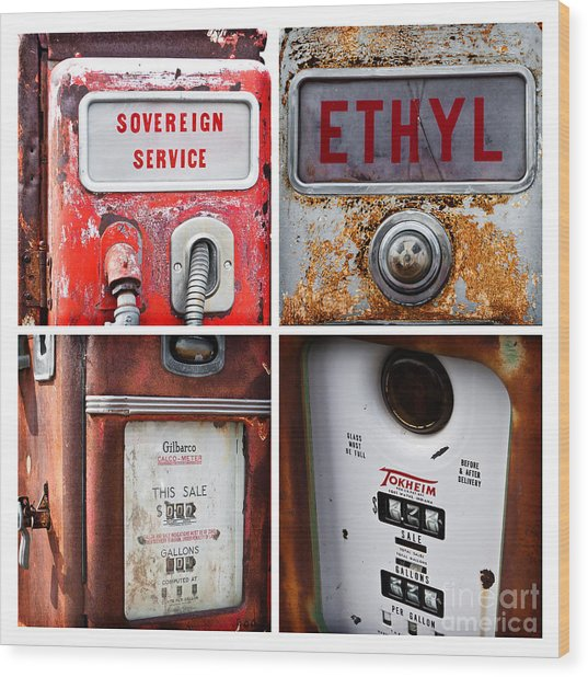 Vintage Fuel Pumps Collage Wood Print