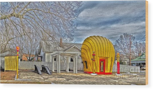 Days Of Yesterday Gas Station Wood Print