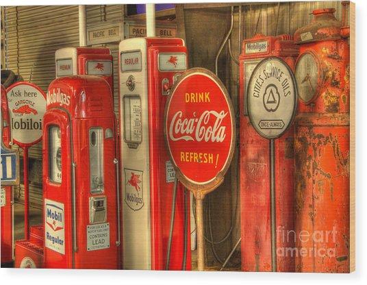 Vintage Gasoline Pumps With Coca Cola Sign Wood Print