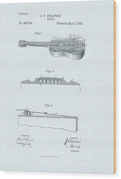 Guitar Patent Drawing On Blue Background Wood Print