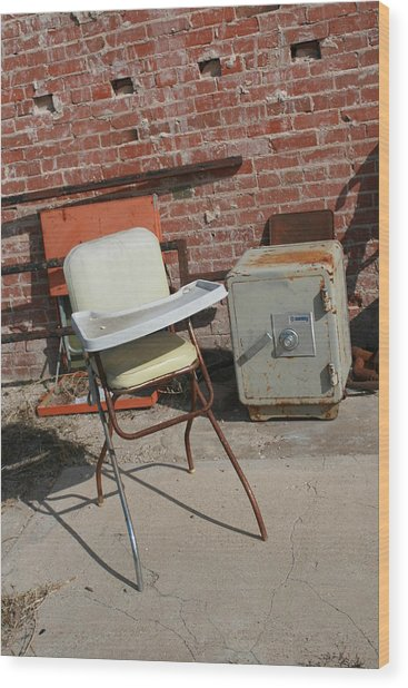 Vintage Highchair Wood Print by Paulette Maffucci