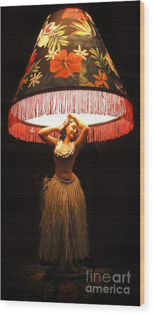 Vintage Hula Girl Lamp Wood Print