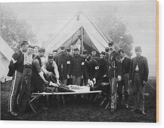 Vintage Image Of Civil War Reenactment Wood Print by Thinkstock Images