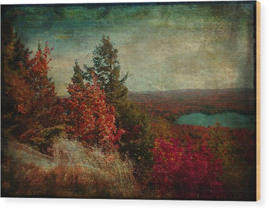 Vintage Inspired Adirondack Mountains In Fall Colors Wood Print