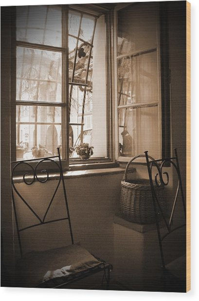 Vintage Interior With A Wooden Framed Window Wood Print