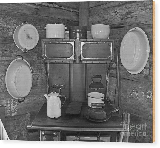 Vintage Kitchen And Wood Stove Wood Print by Valerie Garner