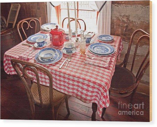 Vintage Kitchen Table Art Prints Wood Print