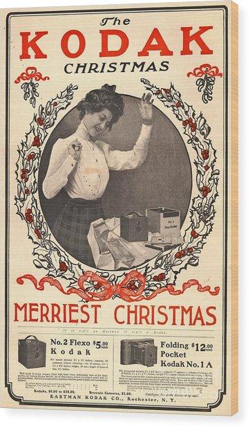 Vintage Kodak Christmas Card Wood Print