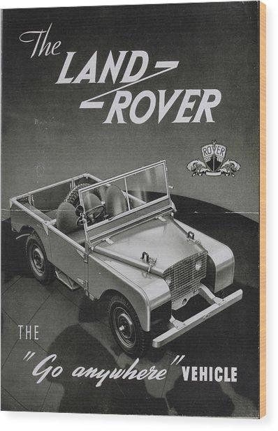 Vintage Land Rover Advert Wood Print
