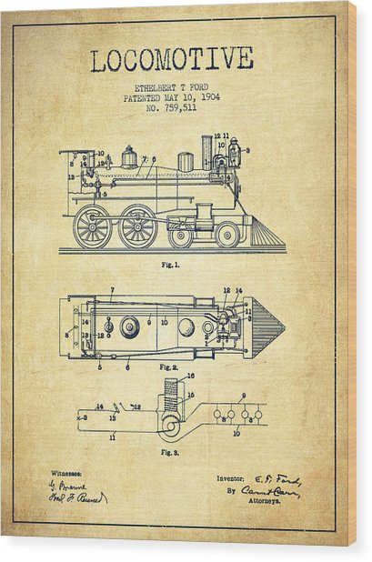 Vintage Locomotive Patent From 1904 - Vintage Wood Print