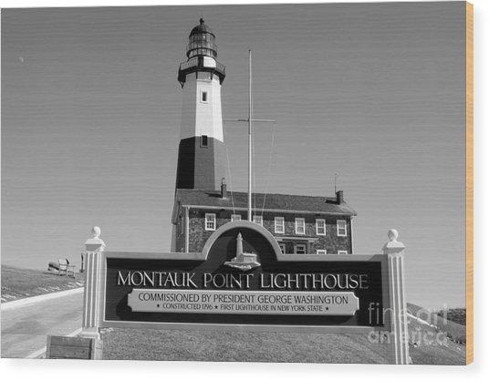 Vintage Looking Montauk Lighthouse Wood Print