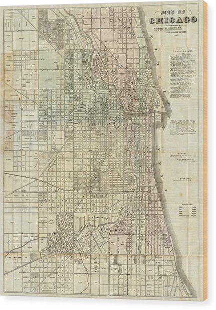 Vintage Map Of Chicago - 1857 Wood Print