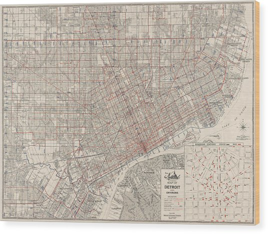 Vintage Map Of Detroit Michigan From 1947 Wood Print