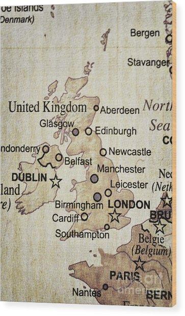 Vintage Map Of England Wood Print
