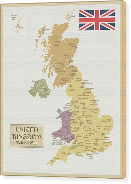 Vintage Map Of United Kingdom Wood Print by Pop jop
