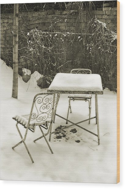 Vintage Metal Chairs Covered With Snow Wood Print