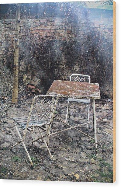 Vintage Metal Chairs In The Backyard Wood Print