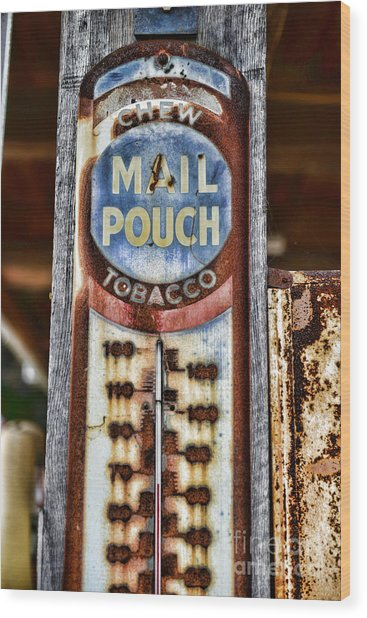 Vintage Metal Mail Pouch Tobacco Thermometer Wood Print