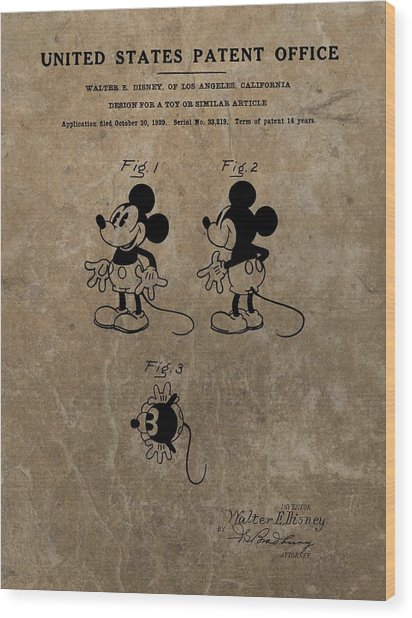 Vintage Mickey Mouse Patent Wood Print