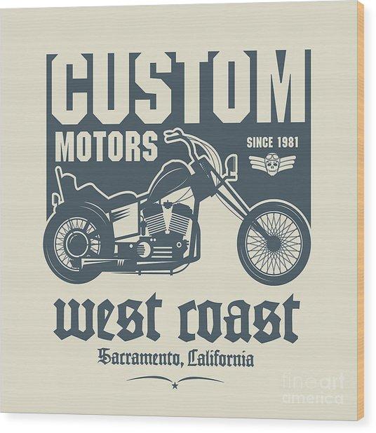 Vintage Motorcycle Label Or Poster Wood Print