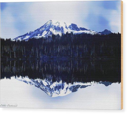 Vintage Mount Rainier From Reflection Lake Early 1900 Era... Wood Print
