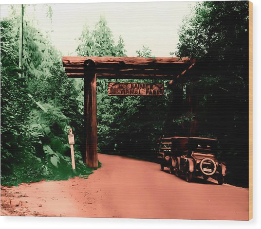 Vintage Mt.rainier National Park Entrance Early 1900 Era... Wood Print