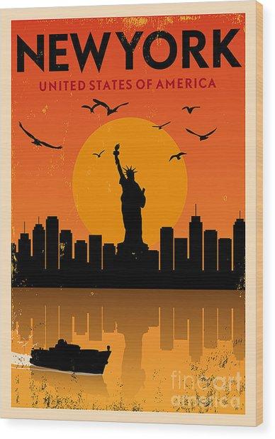 Vintage New York Poster Wood Print