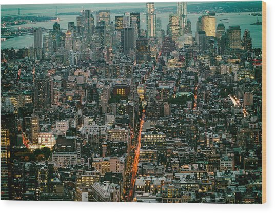 Vintage New York Skyline Wood Print