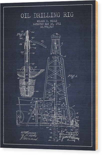 Vintage Oil Drilling Rig Patent From 1911 Wood Print