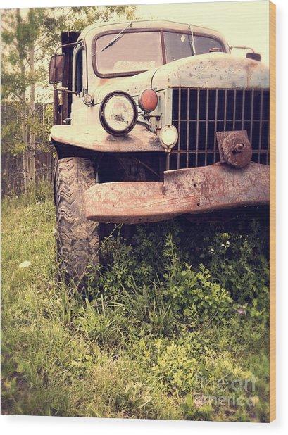 Vintage Old Dodge Work Truck Wood Print