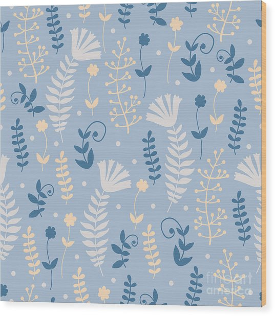 Vintage Pattern With Floral Motifs Wood Print by Yudina Anna