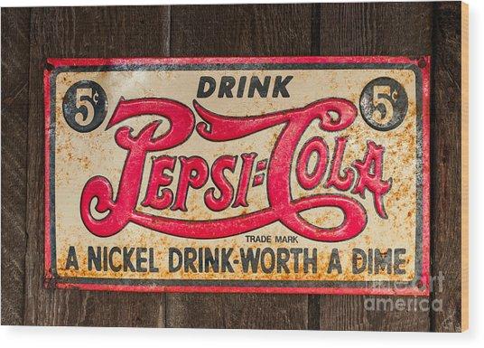 Vintage Pepsi Cola Ad Wood Print