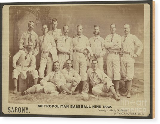 Vintage Photo Of Metropolitan Baseball Nine Team In 1882 Wood Print