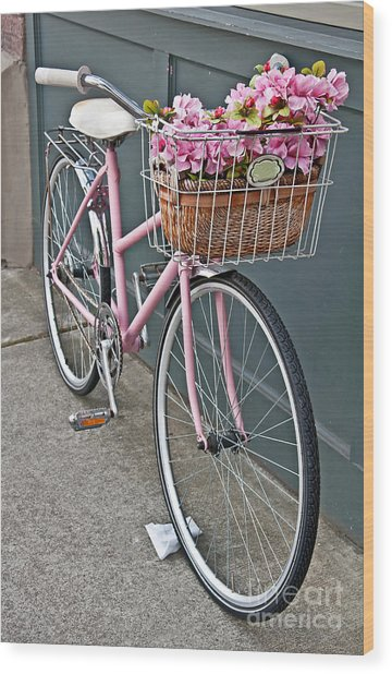 Vintage Pink Bicycle With Pink Flowers Art Prints Wood Print