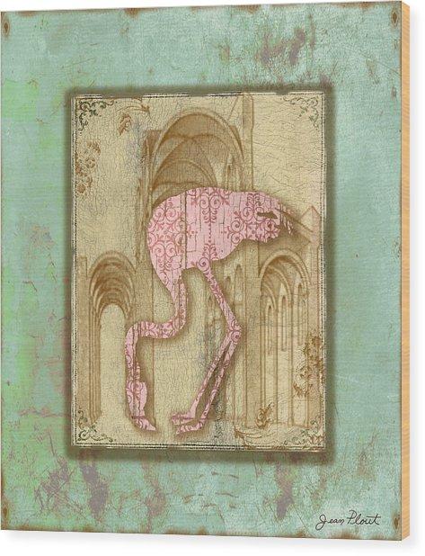 Vintage Pink Flamingo-1 Wood Print