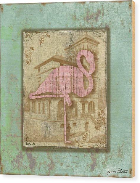 Vintage Pink Flamingo-2 Wood Print