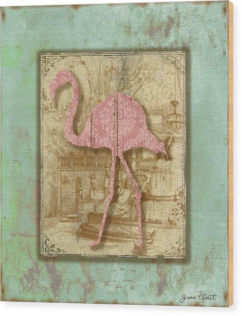 Vintage Pink Flamingo-3 Wood Print