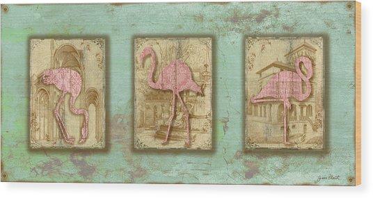 Vintage Pink Flamingo Trio-b Wood Print