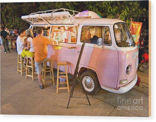 Vintage Pink Volkswagen Bus Wood Print