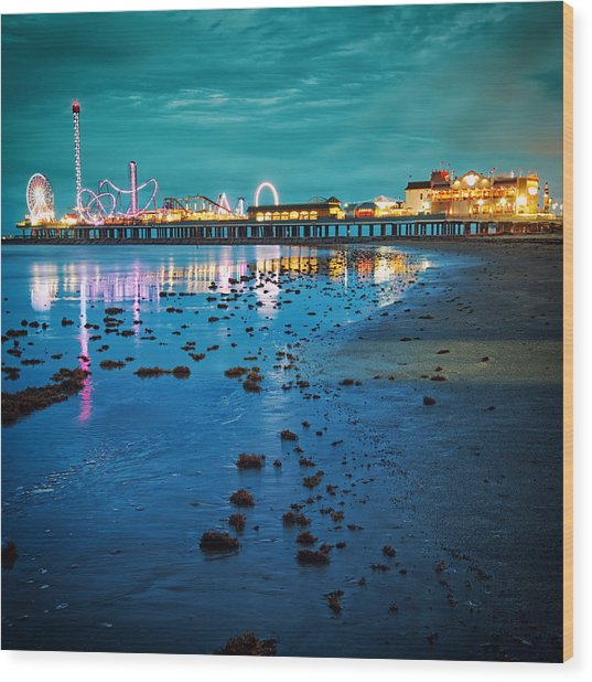 Vintage Pleasure Pier - Gulf Coast Galveston Texas Wood Print