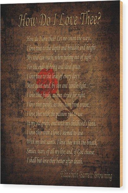 Vintage Poem 4 Wood Print