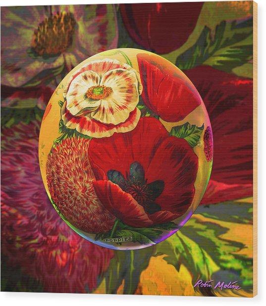 Vintage Poppy Sphere Wood Print