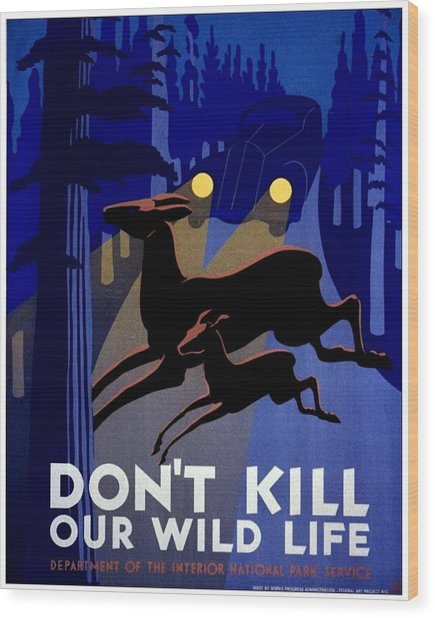Vintage Poster - Don't Kill Our Wild Life Wood Print